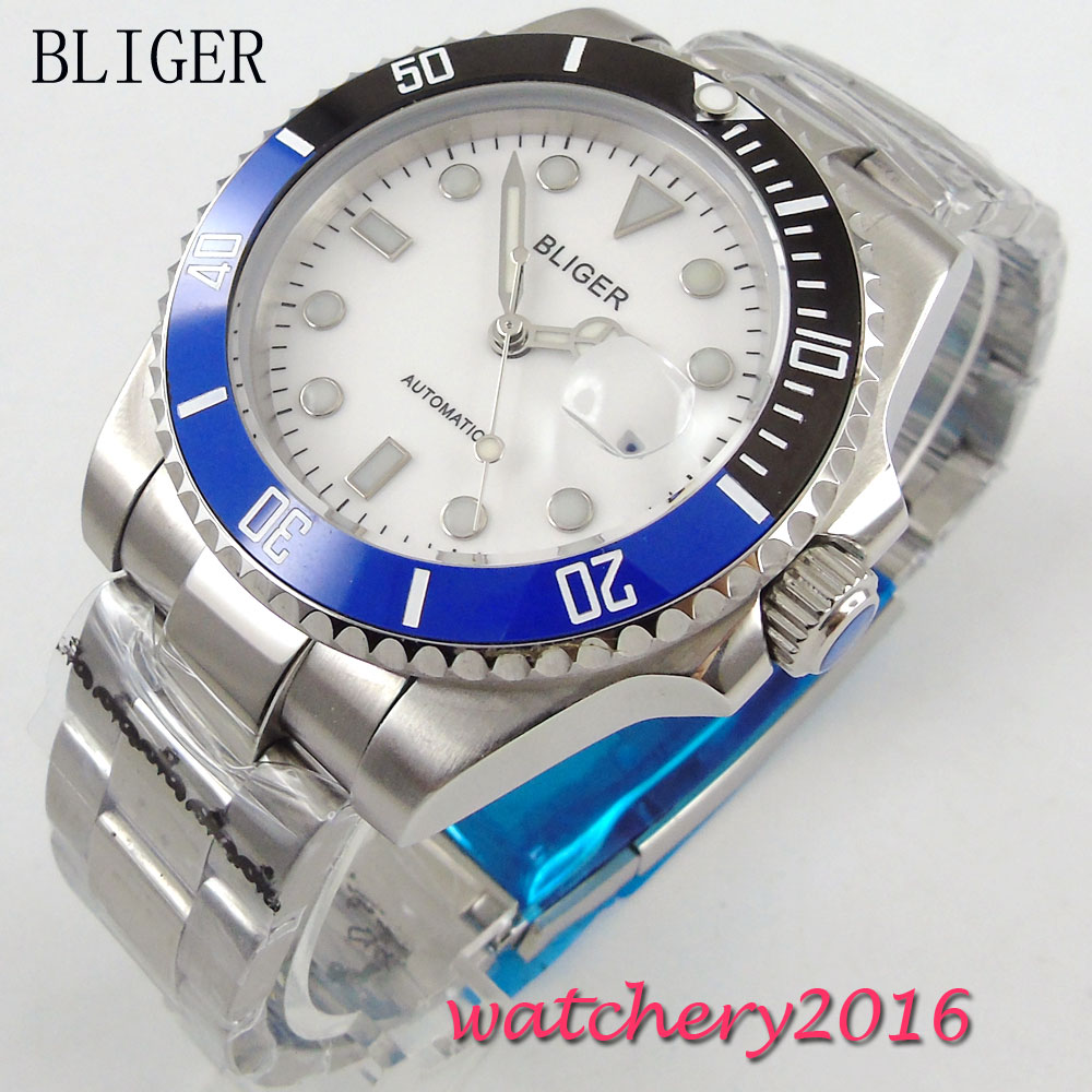 40mm BLIGER white Dial Sapphire Glass Date Rotating Bezel Top Brand Luxury Stainless Steel MIYOTA Automatic Movement mens Watch40mm BLIGER white Dial Sapphire Glass Date Rotating Bezel Top Brand Luxury Stainless Steel MIYOTA Automatic Movement mens Watch