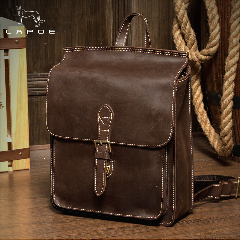 Man And Women backpacks Vintage Genuine leather shoulder bag small backpack Mochila Feminina School Bags for teenager girl bag brand vintage women bagpack beetle shape cool split leather backpack teenager school bag knapsack cowhide mochila feminina