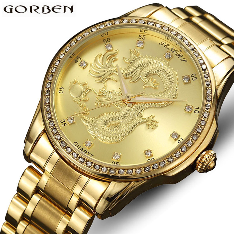 Gold Carved Dragon Golden Watches Mens Luxury Top Brand Stainless Steel Quartz Chinese Wrist Watches Hours Bracelets Male Clock комплект для татуировки oem 1 gig set golden dragon