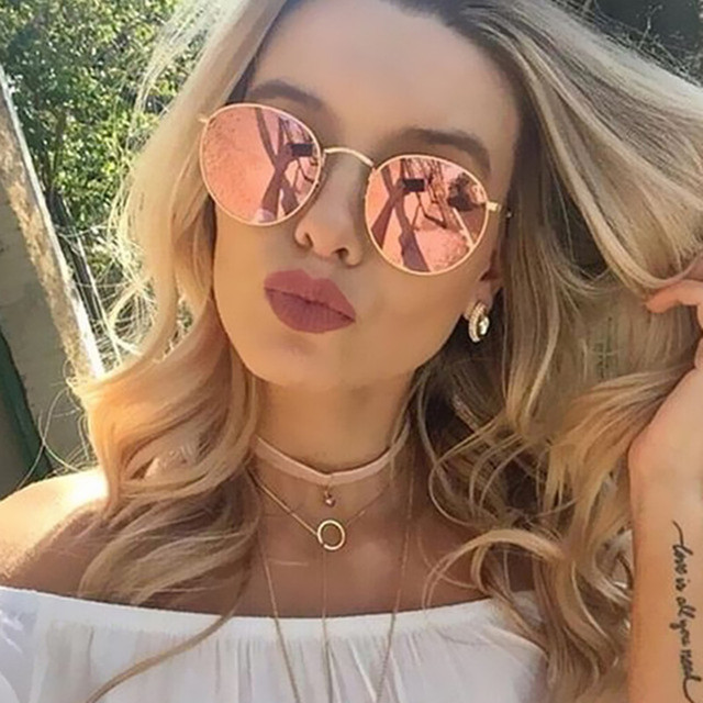 1e718c84a5d Fashion Metal Vintage Round Women Sunglasses Mirror Trendy Sunglasses Women  Popular Blue Lenses Glasses Round AABF02