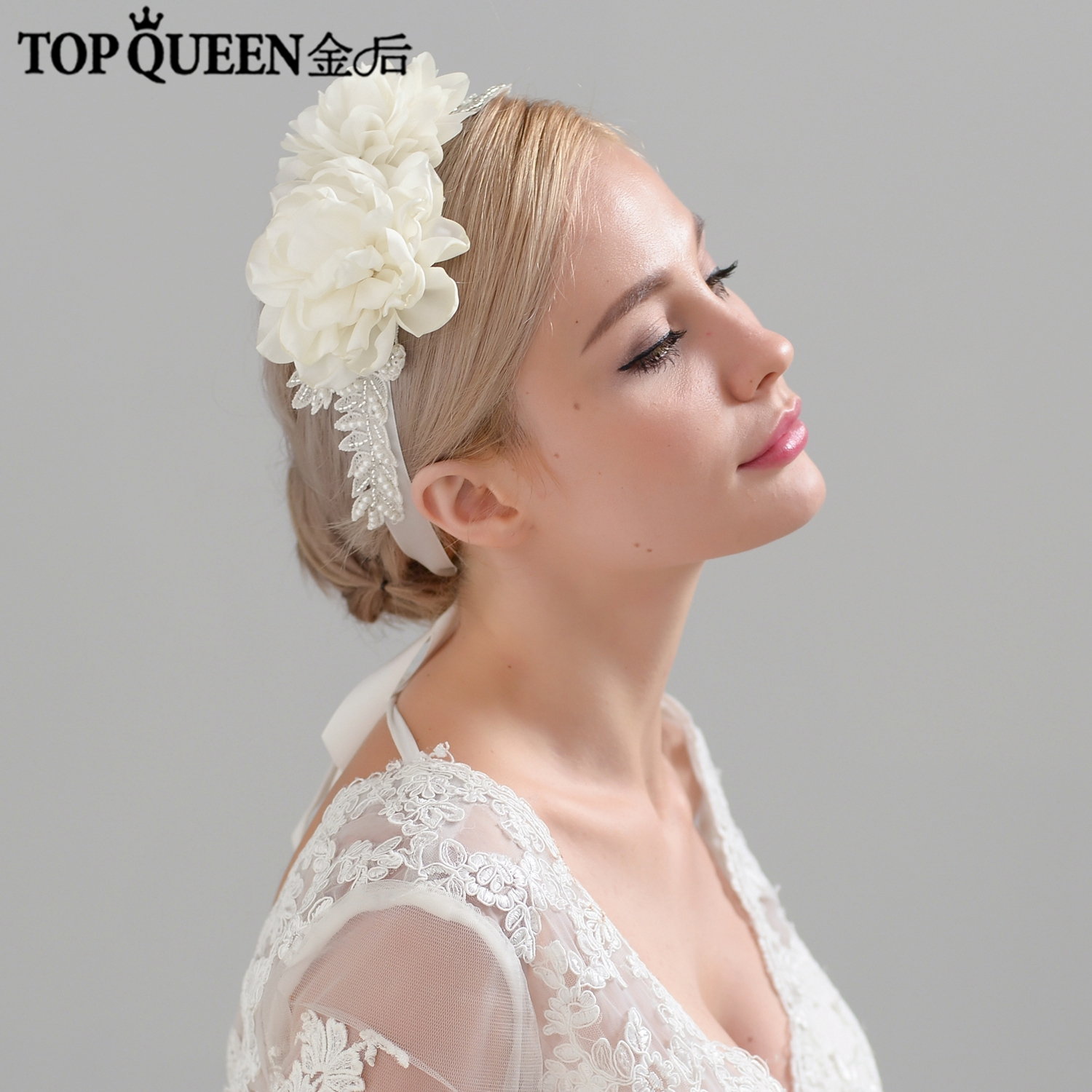 us $19.99 |topqueen h251 free shipping bridal headbands beaded wedding hair accessories organza flowers bridal headpieces fast shipping-in bridal