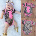 Cute Newborn Infant Baby Girls Boys Clothes Deer Bownot Short Sleeve Bodysuit Jumpsuit Outfits