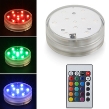 20pcs/Lot 3AAA Battery Operated Changeable RGB LED Submersible LED Light Floralyte Underwater Waterproof Vase Light For Decor