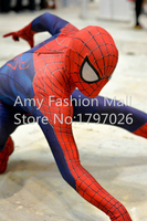 Custom made Halloween adult marvel lycra The Amazing Spiderman Costume Cosplay mask lens 3D Printing