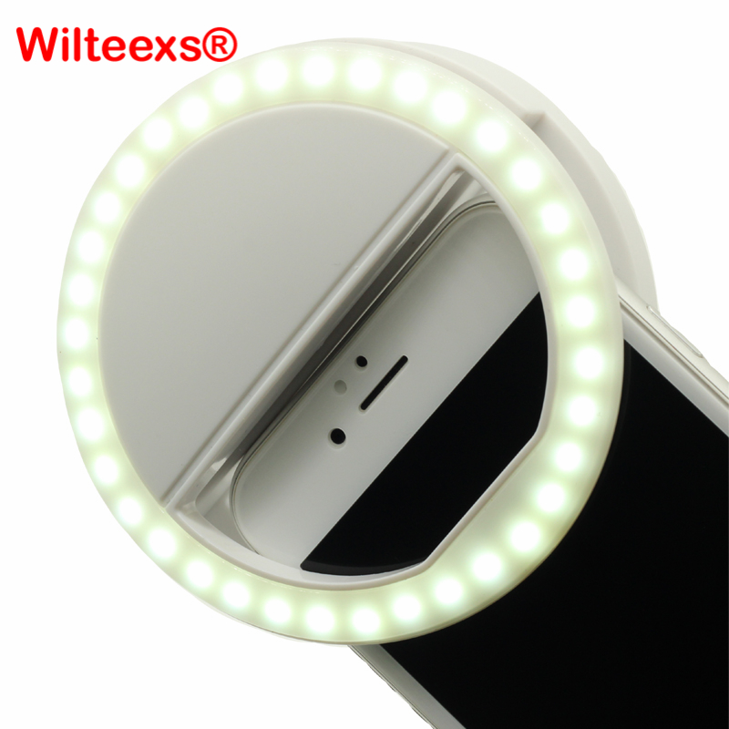 WILTEEXS 36 LED Portable Flash Led Camera Clip-on Mobile phone Selfie ring light video light Night Enhancing