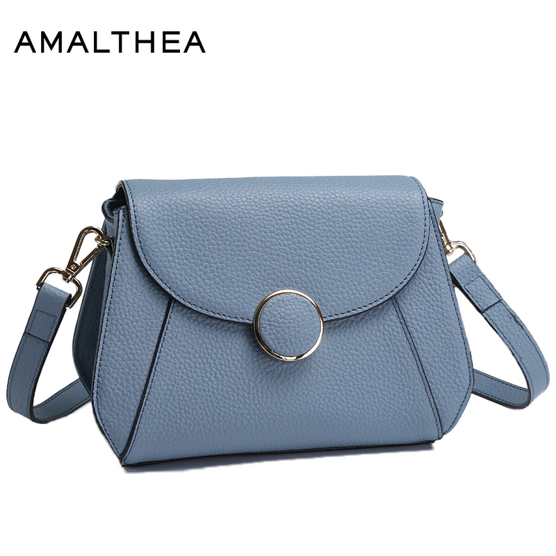 AMALTHEA Brand Fashion Woman Bag Lichee Pattern Designer Crossbody Bags For Women Shoulder Bags Blue Small Messenger Bag AMAS009