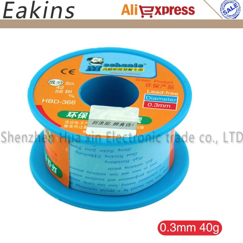 0.3/0.4/0.5/0.6/0.8 mm HK Mechanic green low temperature Lead Free Soldering tin wire 40g Sn42/Bi58 Soldering Wire Roll