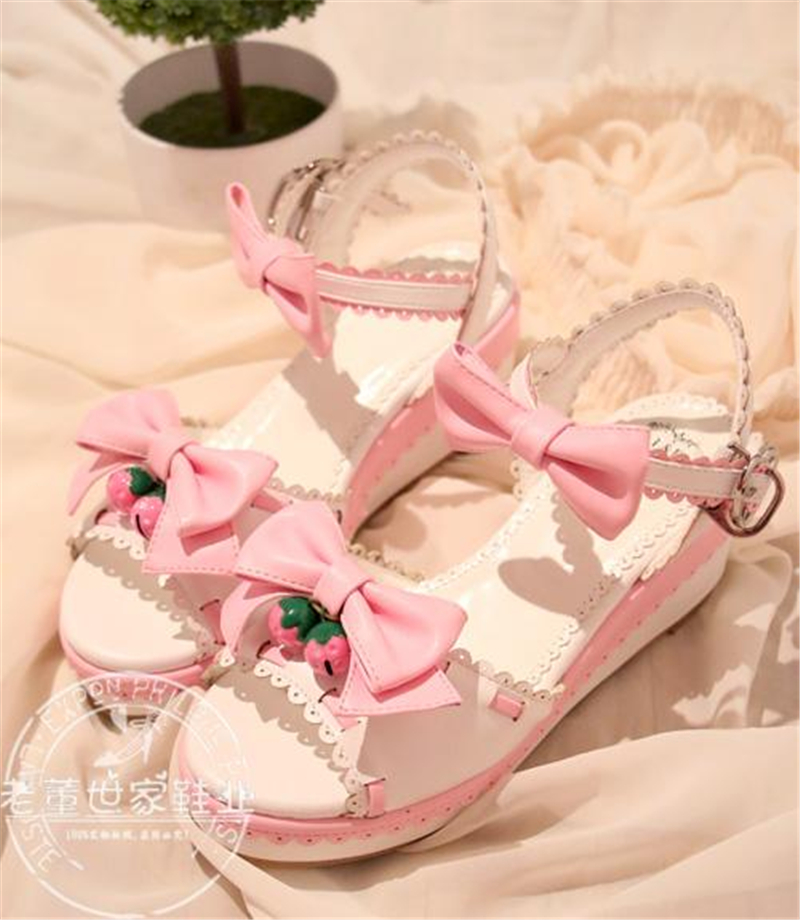 Lolita Japanese Round Wedge Heel Cute Strawberry Bell Shoes Sweety Princess Girl Sandals H