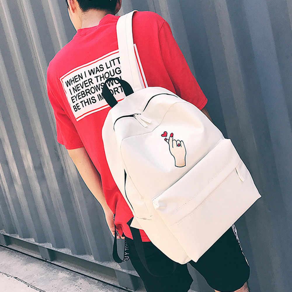 Aelicy 2019 女性女の子のファッションのキャンバス刺繍バックパックショルダーバッグ旅行リュック学生バッグ通学ティーンエイジャー