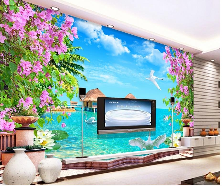 Home decoration 3d nature wallpapers swan lake scenery for 3d wallpaper for home decoration