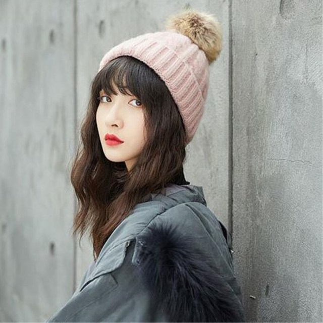 1a0bb0ba760 Cute Winter Mom Women Baby Kids Crochet Knitted Hat Caps Children Girl Boy  Wool Fur Bobble