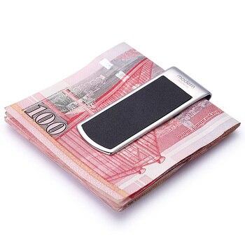 מודרני-מותג חדש 2017 מהדק קליפ כסף עור אמיתי פרה Slim כיס מזומנים ארגונית מחזיק ארנק נשים ארנקים גברים