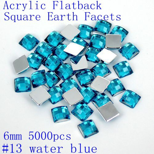 6mm 5000pcs Acrylic Rhinestones Flatback Square Earth Facets Many Colors Glue On Beads DIY Crafts Jewelry Making Decorations купить