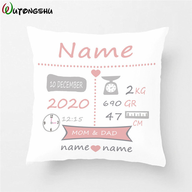 Baby Birth Announcement Pillow Cases Personalized Stats Cover Nursery New Gift Decorative