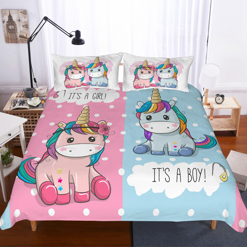 Housse De Couette Licorne Duvet Covers Pillowcases Comforter Bedding Sets Bedclothes Bed Linen 3D Unicorn Children Room Decor
