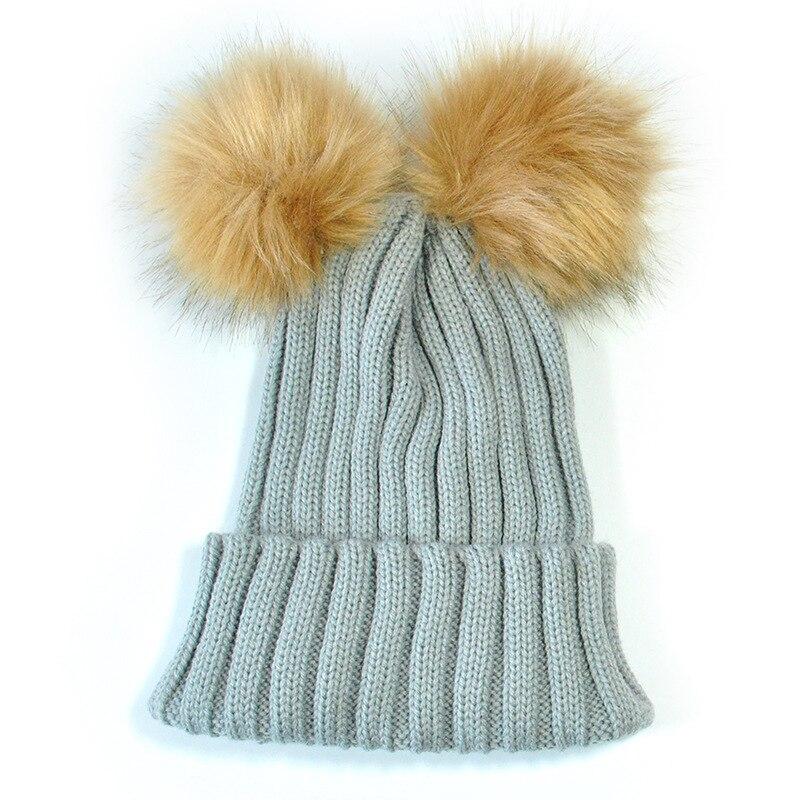 2018 Winter Baby Caps For Girls Boys Dual Ball Knitted Toddler Crochet Beanie Baby Hat Cute Children Kids Caps Warmer Wool Hat