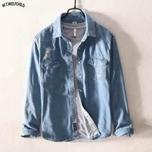 bf901a7fa7493 Buena calidad 2018 Mens apenada agujero vintage denim Camisetas manga larga  casual azul solapa camisas mezclilla ropa tops