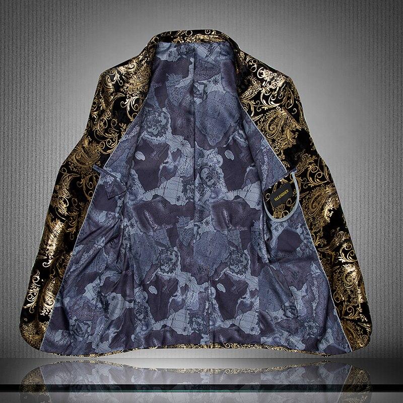 Блейзер большого размера мужской костюм с китайским воротником мужской весенний и летний высококачественный фланелевый костюм властная личность узор - 2