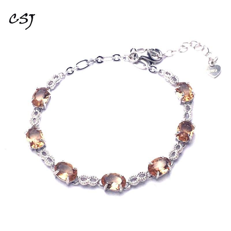 CSJ Zultanite Bracelet Sterling 925 Silver Oval Cut Created Sultanite 5*7mm Color Chance Fine Jewelry Women Wedding Party Gift