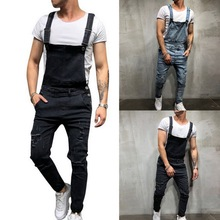 Puimentiua fashion Men's Ripped Jeans Jumpsuits streetwear Distressed Denim Bib