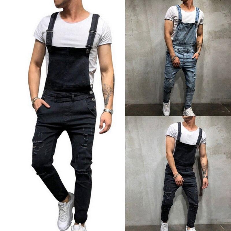Puimentiua Mode Mannen Gescheurde Jeans Jumpsuits Streetwear Verontruste Denim Bib Overalls Mannelijke Jarretel Broek Plus Size Kan Herhaaldelijk Worden Omgedraaid.