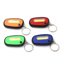 Cute COB LED Flashlight 2-Mode Mini Lamp Key Chain Ring Keychain Pocket Lamp Torch Keyring+2*CR2032 Green/Red/Orange/Blue(China)