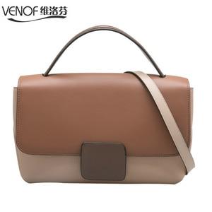 Image 5 - Genuine Leather Hand Bags For Women Contrast Color Tote Bags Shoulder Bag Lady Crossbody Bags Luxury Handbags Women Bag Designer