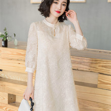2018 Fall New Korean Version Of The Loose Fashion Long-sleeved Lace Dress A
