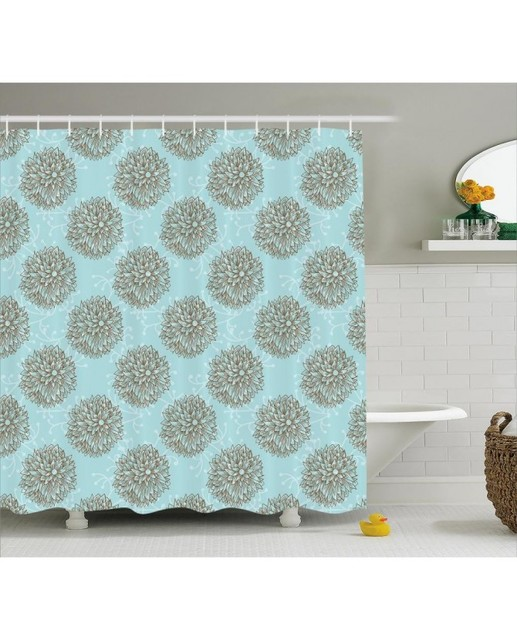 Turquoise Shower Curtain Vintage Flowers Print For Bathroom Waterproof And Fabric Romantic