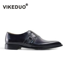 VIKEDUO Luxury Brand Vintage Mens Single Monk Strap Shoes Custom Leather Formal Dress Wedding Party Awesome Man Male Shoe