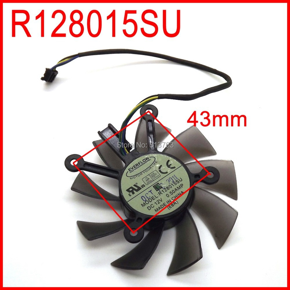 EVERFLOW R128015SU DC 12V 0.50AMP 4Pin 4 Wire PWM 75mm Cooling Fans For ASUS EAH5830 6850 8600 9800g 9600 GTS450 460 HD7850