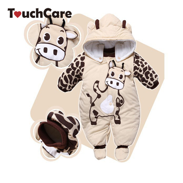 Cute Cartoon Animal Style Hooded Baby Rompers Warm Soft Boys Girls Clothes Outfits Newborn Clothing