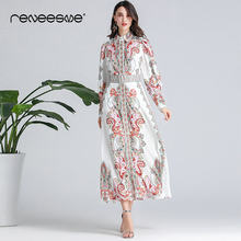 2019 fashion style summer autumn women dress long sleeve turn down collar sashes print ladies maxi dresses ankle-length vestidos(China)