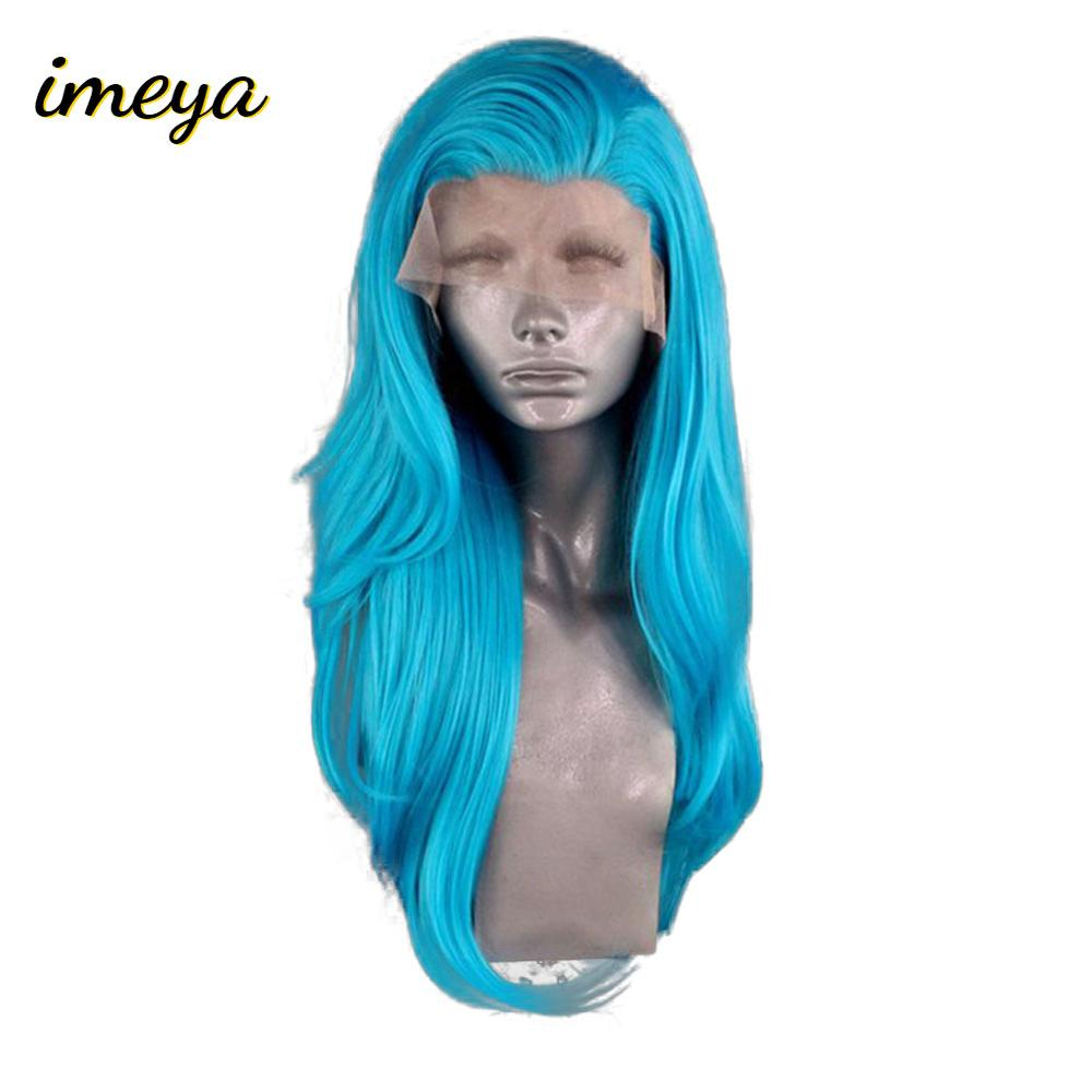 Imeya Long Wavy Blue Hair Lace Front Wigs Synthetic Hight Temperature Heat Resistant Fiber Wigs Side Part Cosplay Women Wigs