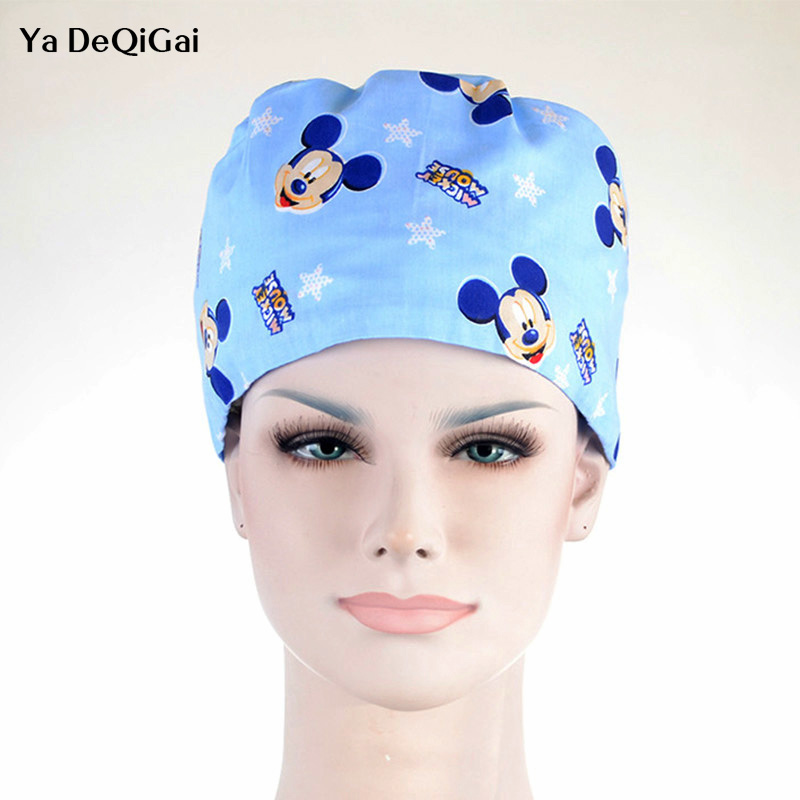 Unisex Cotton Breathable Print Adjustable Pet Hospital Work Hats Surgical Caps Dentistry Doctor Nurse Caps Beauty Pharmacy Hats