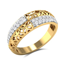 Huitan Creative Ring Band Two--Tone Fashion Anniversary For Women With Bright Stone New Years Gift Best Friend