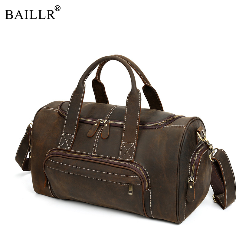 New Trend Bucket Genuine leather Clutch Men's single shoulder bag retro drum bag inclined Cow Leather postman bags personalized