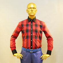 man s scotish red check cotton dress shirt contrast black collar and cuff tailor made designer