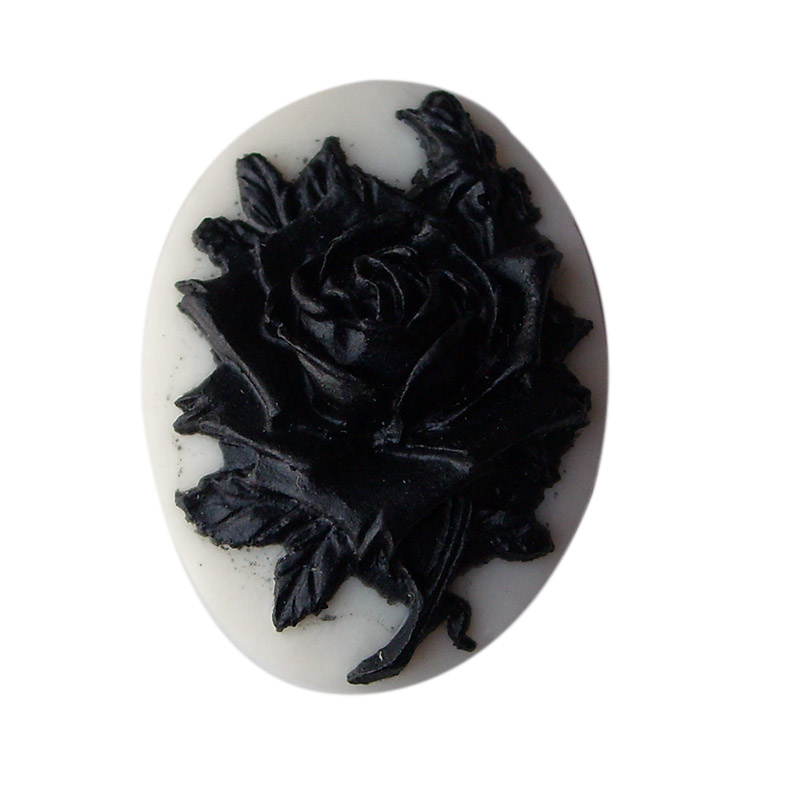 1723mm vintage resin black rose cameo with cream yellow 1723mm vintage resin black rose cameo with cream yellow backgroundoval flat back cabochon for necklace pendantrings aloadofball