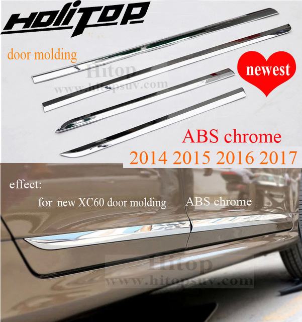 Chrome accessories door molding/moulding body side trim for XC60, three choices, stainless steel or ABS, 2009-2013 or 2014-2017