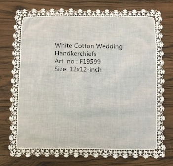 Set Of 12 Fashion Wedding Bridal Handkerchiefs White Cotton Hankies With Lace Edges Embroidered Vintage Crochet Hanky For  Bride