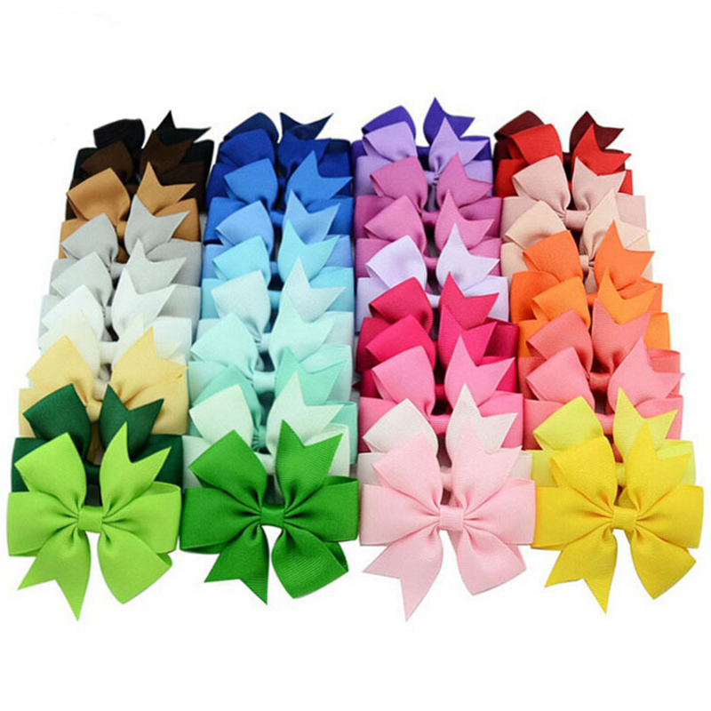 40pcs Baby Girl Grosgrain Ribbon Boutique Hair Bows WITH Alligator Clips Pinwheel Bow For Children Kids Hairbow Hair Accessories