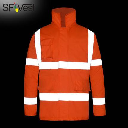 ANSI/SEA 107 Hi vis Safety reflective winter parka men jacket workwear rain jacket orange rain coat with reflective stripes цена