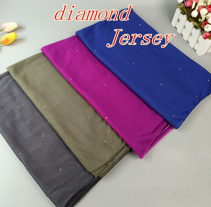 B2 High Quality diamond Jersey Shawls Headbands Popular Hijab Summer Muslim Scarfs 180*80cm