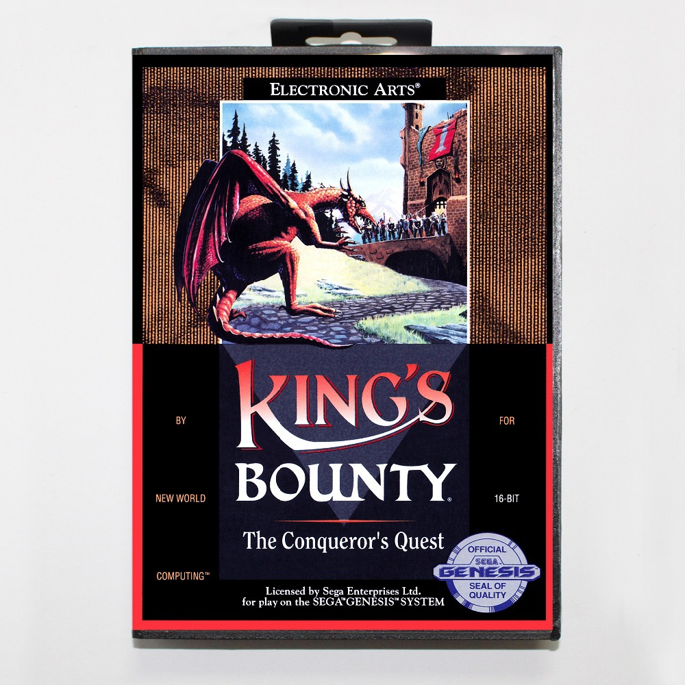 16 bit Sega MD game Cartridge with Retail box – King's Bounty The Conqueror's Quest game cart for Megadrive for Genesis system