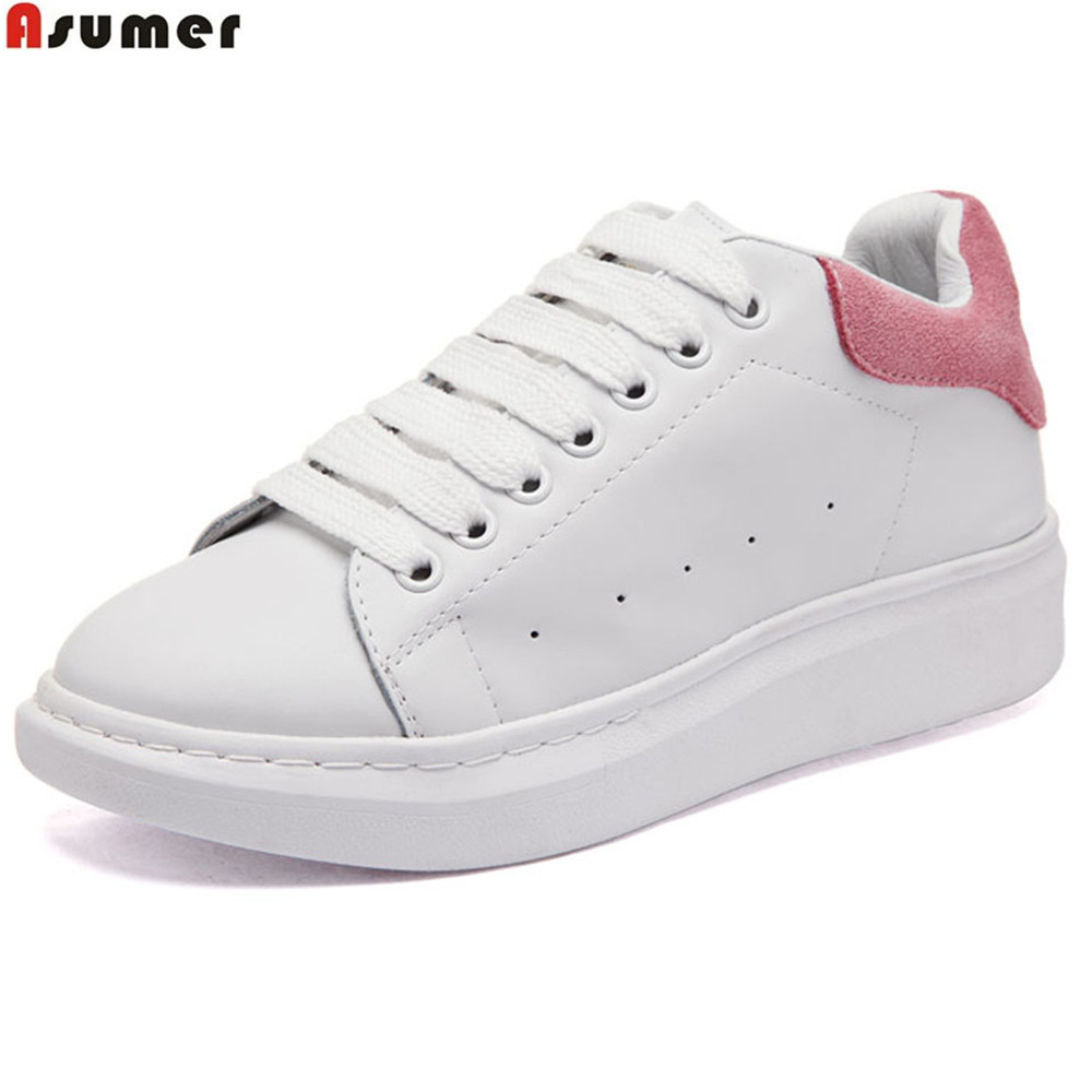 Asumer black pink fashion spring autumn women shoes round toe ladies genuine leather flats shoes casual sneakers single shoes