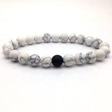 2018 H0T Fashion Classic Marble Beaded Bracelets for Men Women Natural black & white Stone Bead Pulseras Hombre Jewelry gift(China)
