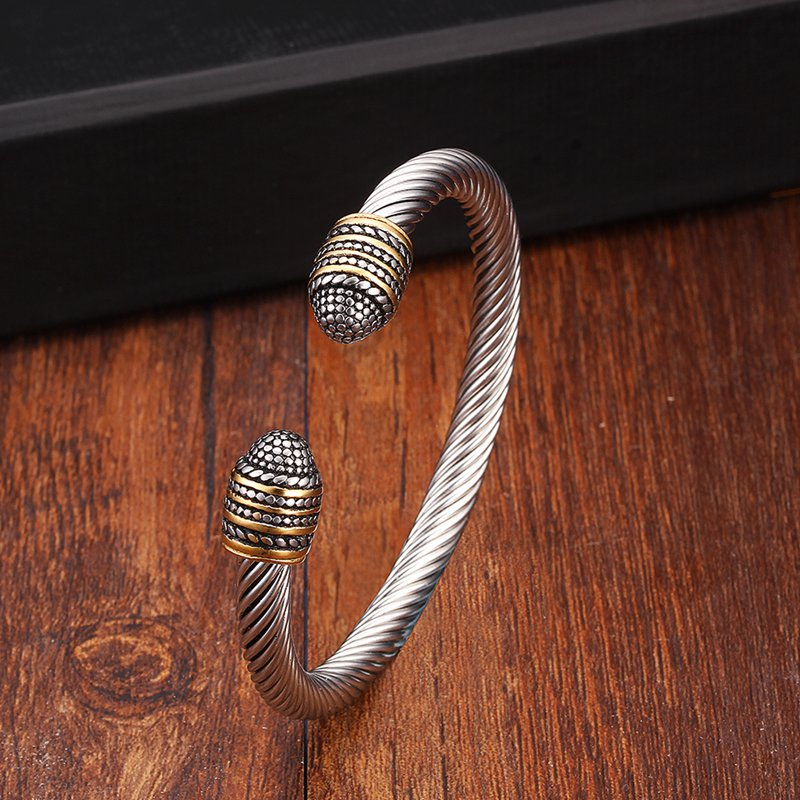 Vintage Stainless Steel Sporty Men Male Charm Bracelets Bangles Trendy Snake Chain Braided Open Fashion Cuff Bangles