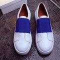 Mujeres Zapatos Casuales Punta Redonda Slip On de Cuero Genuino Blanco Mezclado de Color Zapatos de Mujer Primavera 2017 Nuevos Planos Ocasionales Zapatos de Suela Gruesa