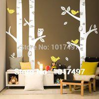 Free Shipping Oversized 100 X100 Birch Tree Wall Decals For Nursery Baby Nursery Room Art Mural